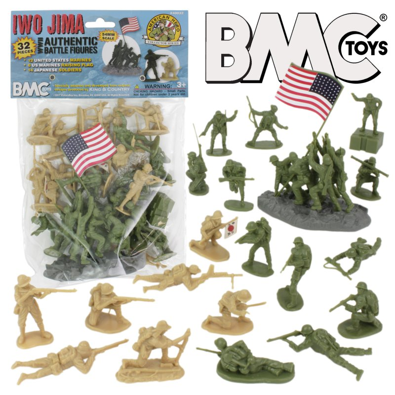 Image 0 of BMC Iwo Jima  Marines & Japanese Plastic Soldiers 34 Pc Set