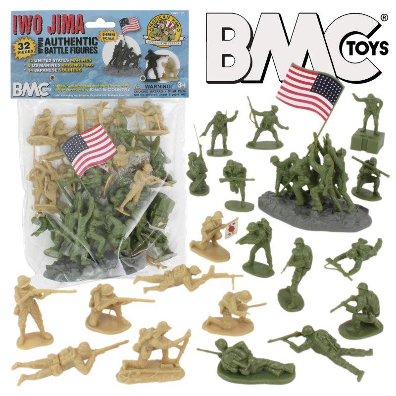 Image 0 of BMC Iwo Jima  Marines & Japanese Plastic Soldiers 34 Pc Set