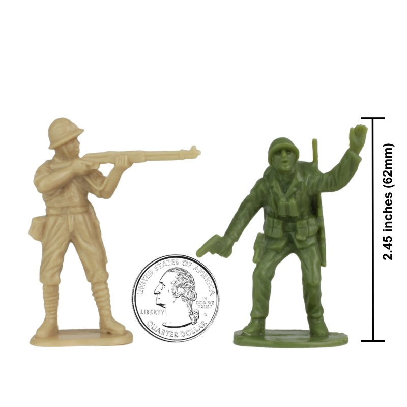 Image 1 of BMC Iwo Jima  Marines & Japanese Plastic Soldiers 34 Pc Set