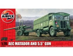 Airfix 1/72nd Scale WWII AEC Matador Truck & 5.5 Cannon Model Kit