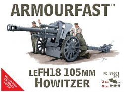 Armourfast 1/72nd Scale WWII German LeFH18 105mm Howitzer Gun & Crew Kit # 89001