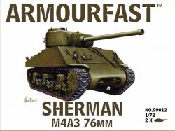 Armourfast 1/72nd Scale WWII US Sherman M4A3 Tank w/76mm Gun Kit # 99012