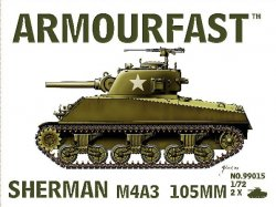 Armourfast 1/72nd Scale WWII US Sherman M4A3 Tank w/105mm Gun Kit # 99015