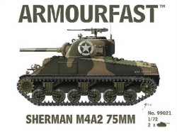 Armourfast 1/72nd Scale WWII US Sherman M4A2 75mm Tank Kit # 99021