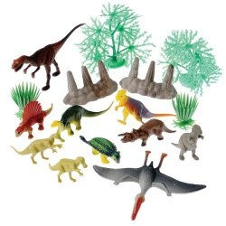 Prehistoric Dinosaurs And Landscape Plastic 16 Pc Set