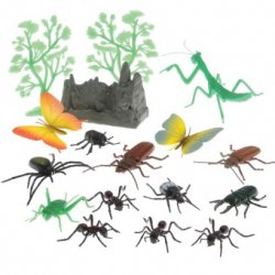 Insect And Landscape Plastic 17 Piece Plastic Figures Set