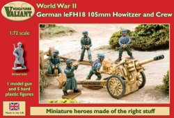 Valiant Miniatures 1/72 WWII German leFH18 105mm Howitzer Gun w/5 Crew
