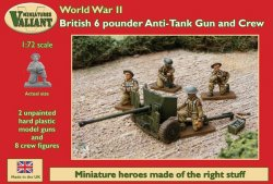Valiant Miniatures 1/72 British 6-Pdr Anti-Tank Gun (2) w/8 Crew