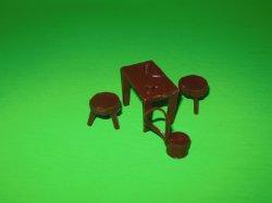 Marx Recast ACW Western Plastic Table, Stools, Drum Set