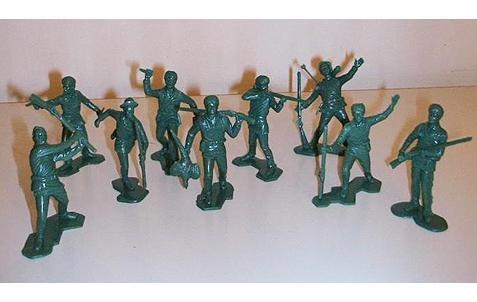 Image 0 of  Marx Recast Green Rogers Rangers Boonesboro Pioneers Plastic Figures Set