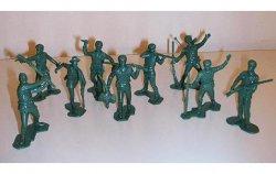 Marx Recast Green Rogers Rangers Boonesboro Pioneers Plastic Figures Set