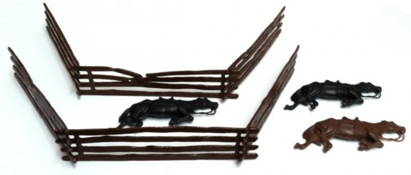 Image 0 of Classic Toy Soldiers Ciivl War Split Rail Fence And Dead Horses Set 752