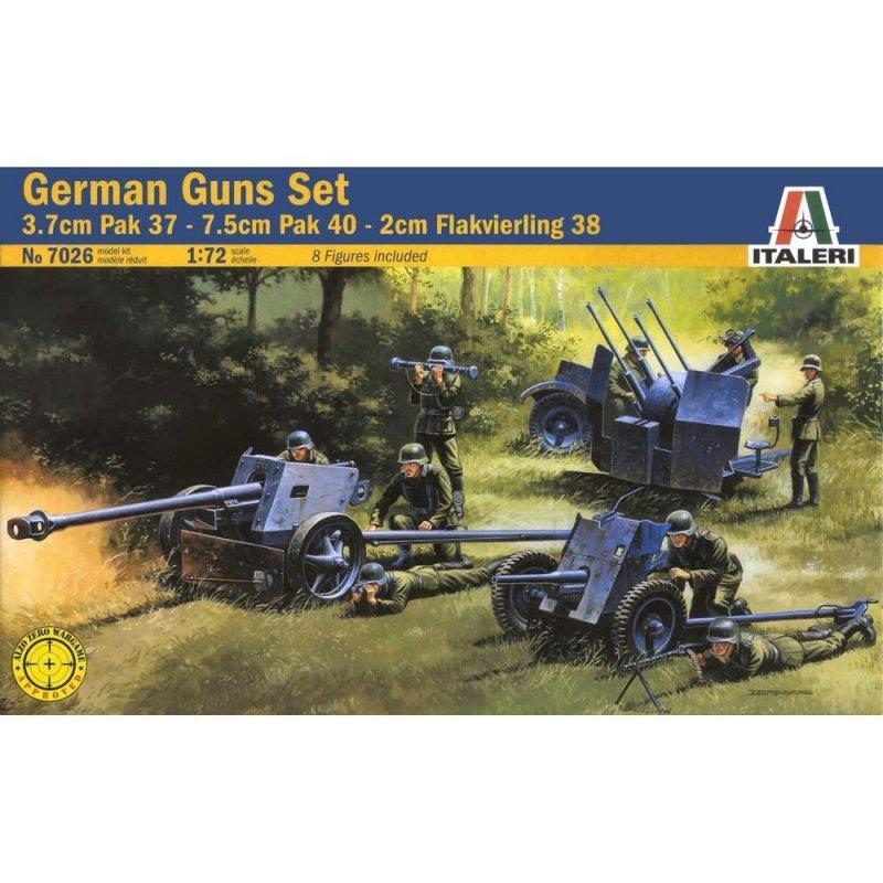 Image 0 of Italeri WWII 1/72 German Gun Set: Pak 37, Pak 40, Flak 38 7026