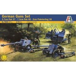 Italeri WWII 1/72 German Gun Set: Pak 37, Pak 40, Flak 38 7026
