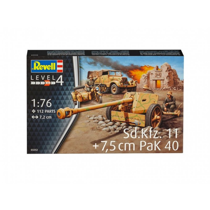 Image 0 of Revell 1/76th Scale WWII German SD KFz. 11 & Pak 40 Plastic Model Kit 3252