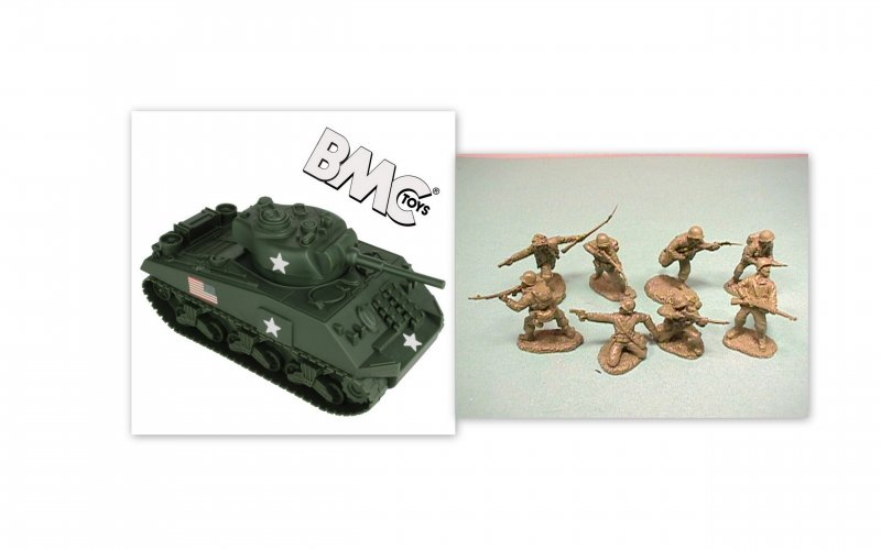 Image 0 of BMC 1/32nd Scale WWII US Sherman Tank And TSSD American Soldiers Bundle