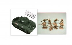 BMC 1/32nd Scale WWII US Sherman Tank And TSSD American Soldiers Bundle