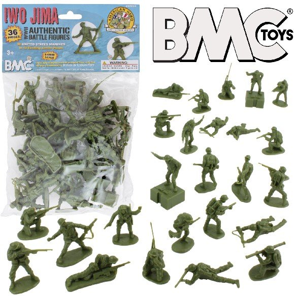 Image 0 of BMC 54mm Iwo Jima WWII US Marines Plastic Figures Set 40034