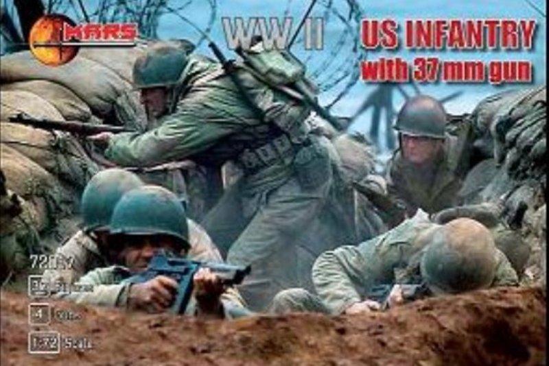 Image 0 of Mars 1/72 Scale WWII U.S. Infantry w/ 37mm Guns Set 72017