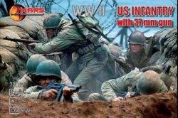 Mars 1/72 Scale WWII U.S. Infantry w/ 37mm Guns Set 72017