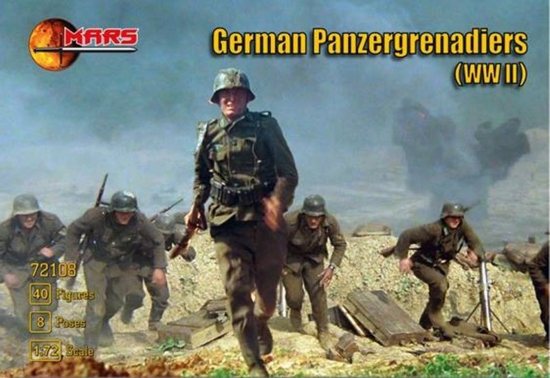 Image 0 of Mars 1/72 Scale WWII German Panzergrenadiers Soldiers Set 72108