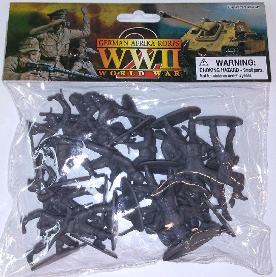 Image 0 of 1/32 54mm WWII German Afrika Corps Grey Figures Bagged Set