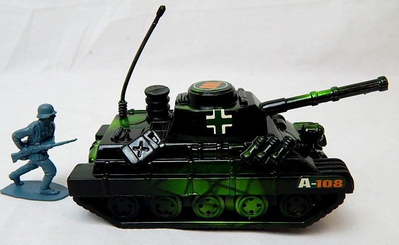 Image 2 of World War II German Panzer Tank Metallic Green Plastic Finish