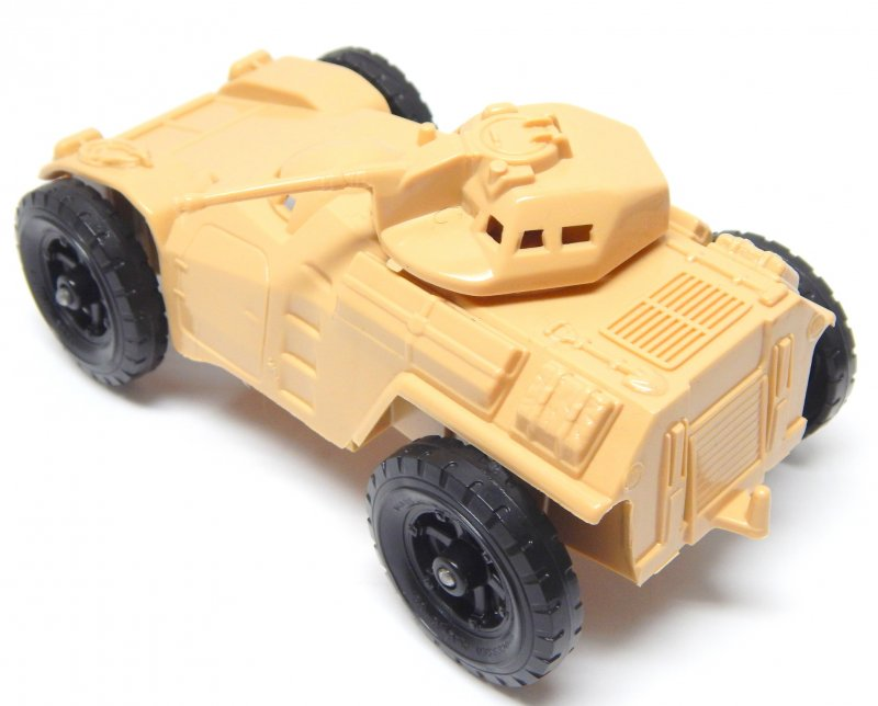 Image 1 of Timmee Processed Plastic Tan Wide Axle Army Armored Car (pre-owned)