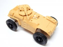 Timmee Processed Plastic Tan Wide Axle Army Armored Car (pre-owned)