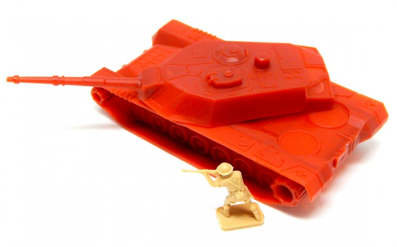 Image 1 of HO Scale Abrams 'Red' Plastic Military Modern Tank