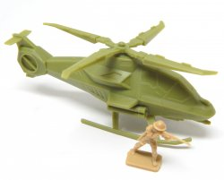 Modern Sci-Fi Style HO Scale Green Plastic Attack Helicopter