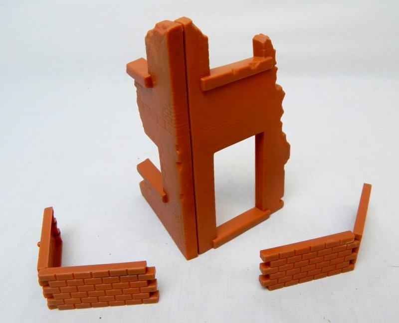 Image 0 of Corner Building And Brick Walls Ruins Diorama Set