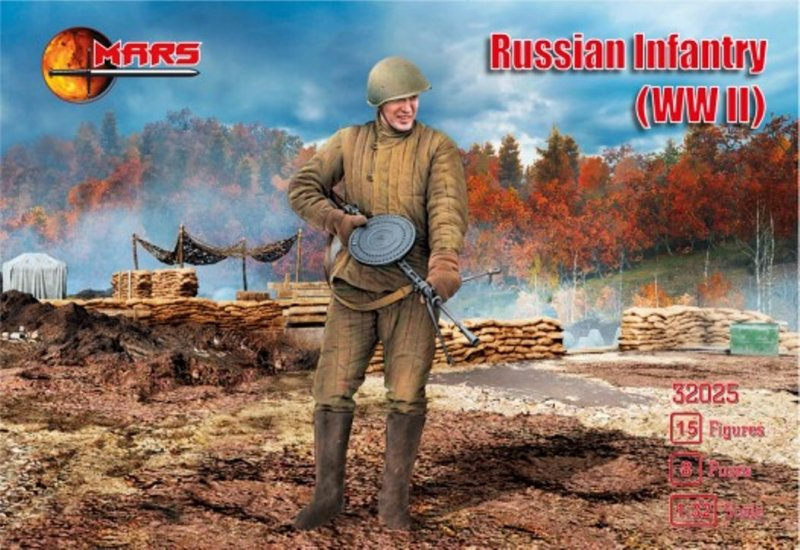 Image 0 of Mars 1/32 WWII Russian Infantry Soldiers Set 32025