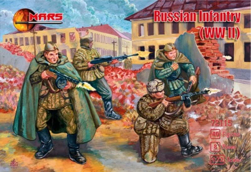 Image 0 of Mars 1/72 WWII Russian Infantry Soldiers Set 72115