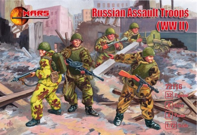Image 0 of Mars 1/72 WWII Russian Assault Troops Soldiers Set 72116