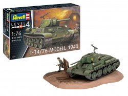 Revell 1/76th Scale WWII Russian T34/76 Model 1940 Tank Plastic Model Kit 3294