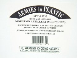 Armies In Plastic 1/32 Boer War Mountain Artillery 1898 To 1900 Combo Set 5732