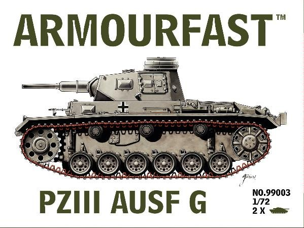 Armourfast 1/72nd Scale WWII German Panzer III Ausf G Medium Tank Kit #99003