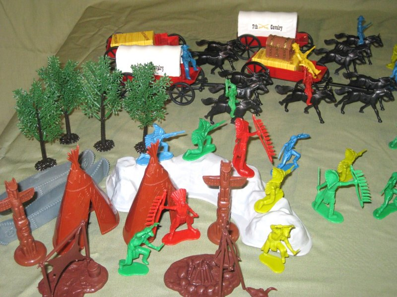 Indian Village And Wagon Train
