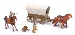 New Ray Plastic Western Covered Wagon And Figures Set