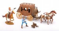 New Ray Plastic Western Stagecoach With Figures Set