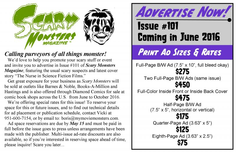 Ad Placement Scary Monsters Magazine Issue #101