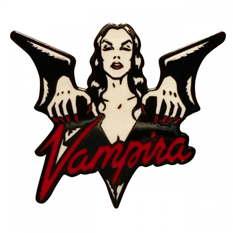 Vampira Enamel Pin in package
