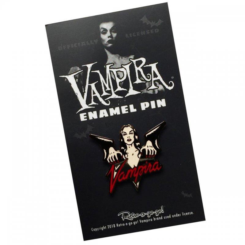 Vampira Enamel Pin in package