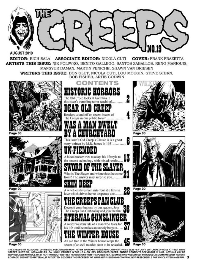 The Creeps #19 contents page