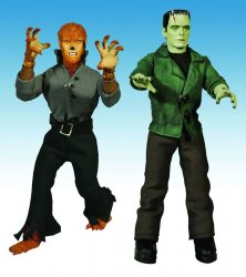 Thumbnail of Universal Monsters FRANKENSTEIN WOLF MAN Ecme Retro Mego-Style Cloth Figs RARE!
