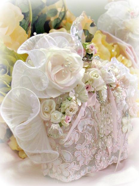 Image 1 of Regency Elegance Pink Beaded Square Potion Bottle