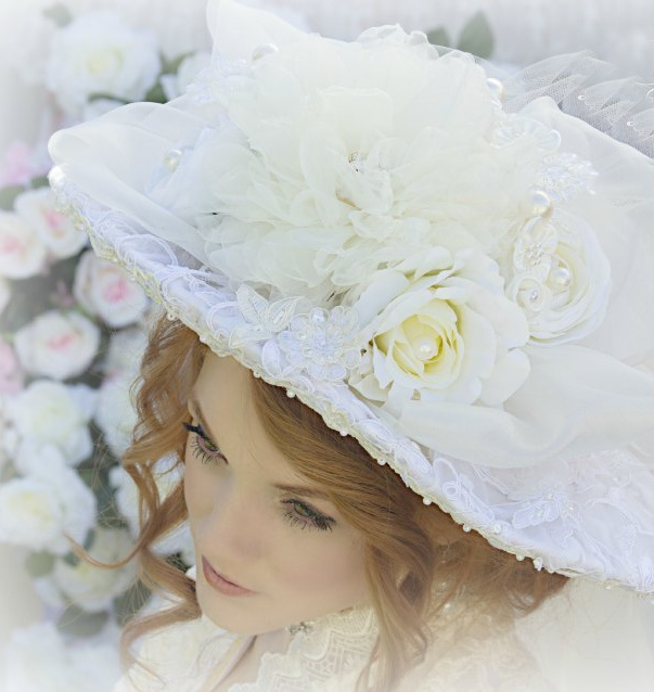 Image 1 of Climbing Roses Ivory Creme Victorian Bridal Hat