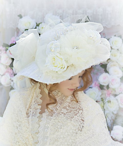 Image 1 of Roses and Pearls Ivory Creme Victorian Bridal Hat