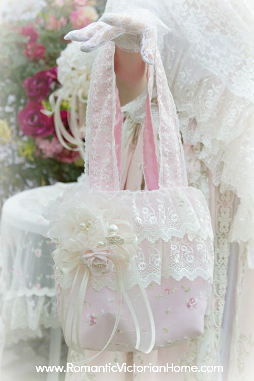 Victorian Pink Ruffled Lace Hand Bag